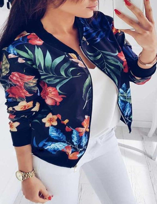 Baseball Bomber Stand Collar Long Sleeve Floral Jacket