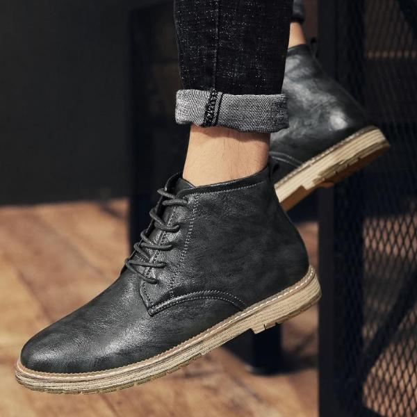 Big Size Autumn Winter Men Leather Bootie Lace-Up Round Toe