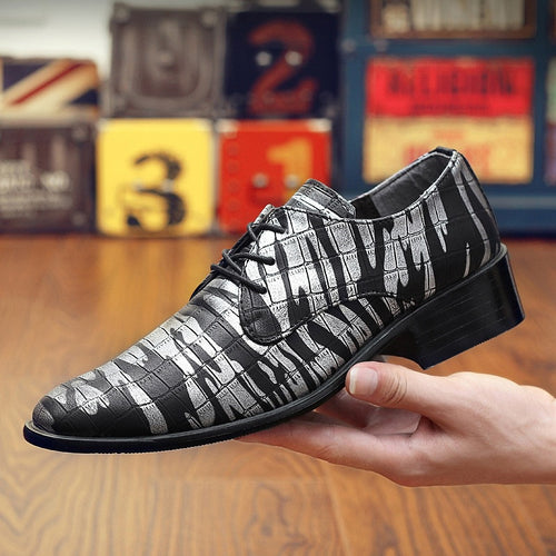 Men Leather Shoes Pointed Toe Fashion Print Lace Up