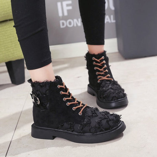 Women Fashion Boots Lace-up  Shoes