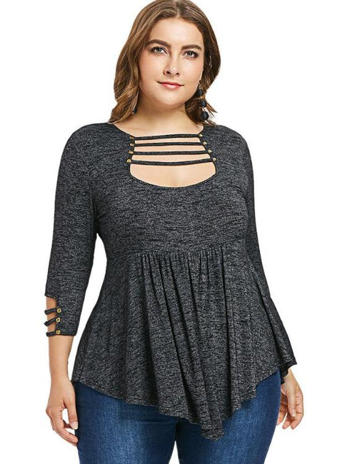 Plus Size Cut Out High Waist T-Shirt