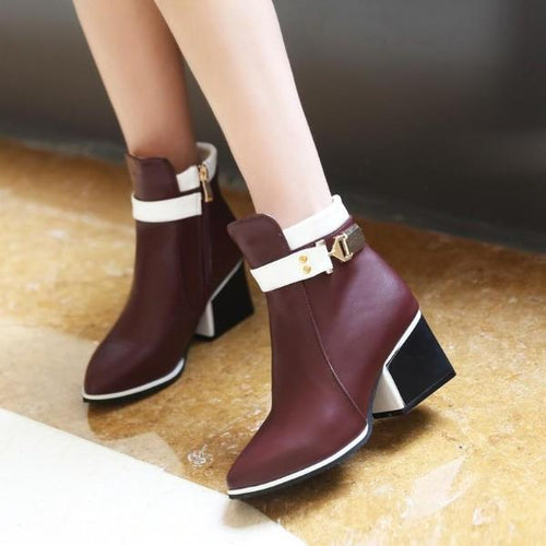 Women Ankle Boots Zipper Pointed Toe High Heel