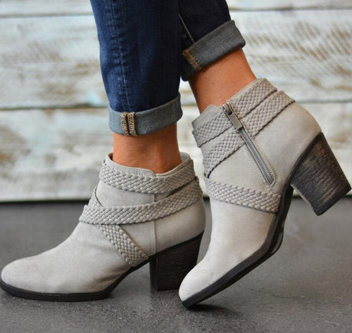 Pointed Toe Mid Heels Square Ankle Boots