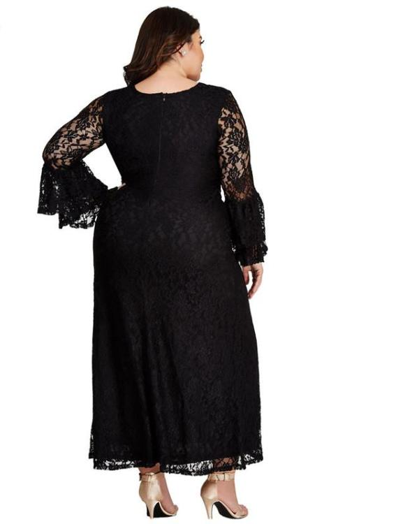 Black Lace Bell Sleeve Maxi Dress