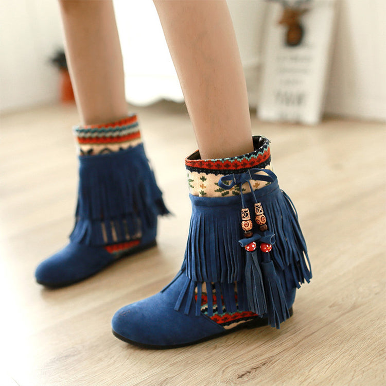 Bohemia Suede Tassel Bead Height Increasing Shoe