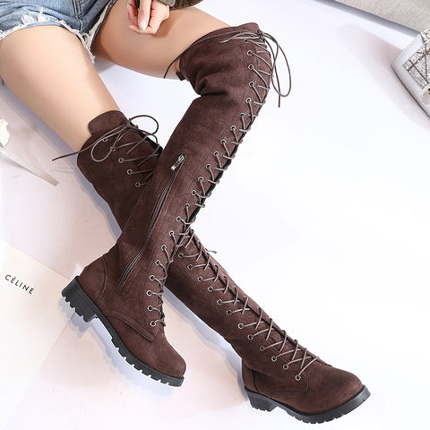 Over Knee High Cross Ties Lace-Up Boots