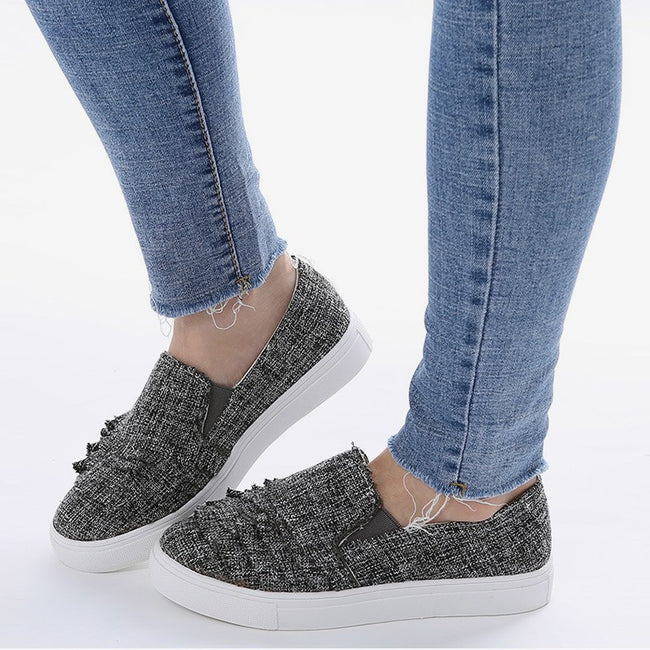Canvas Shallow Slip On Pleated Sneakers