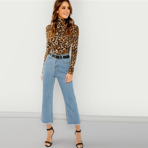 Lady High Neck Leopard Print Fitted Pullovers Tee