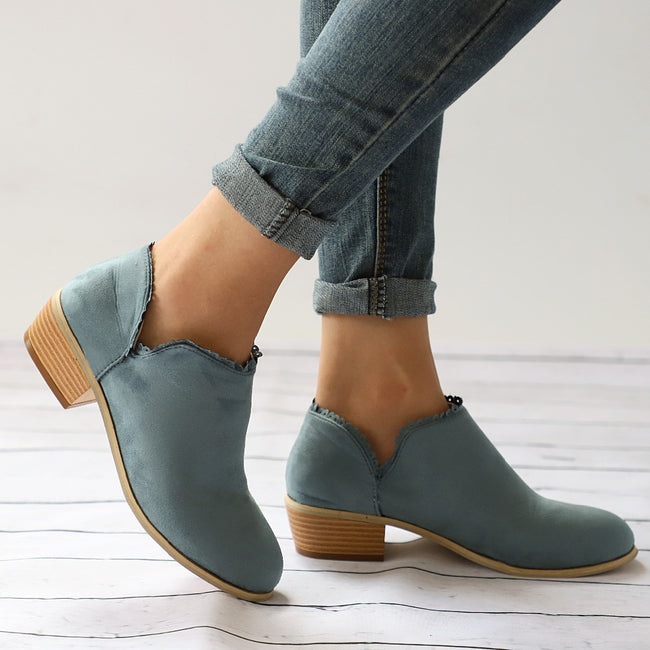 Low Thick Heel Ankle Platform Boots