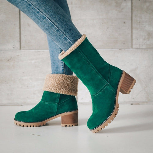 Fur Warm Square High Heels Boots