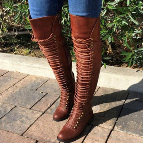 Knee High Cross-tied Riding Boots