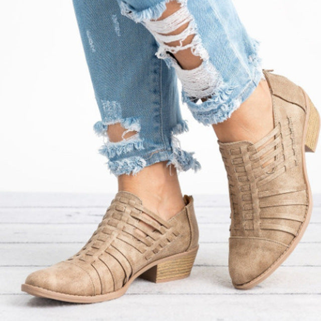 Hollow Out Zipper Ankle Boots