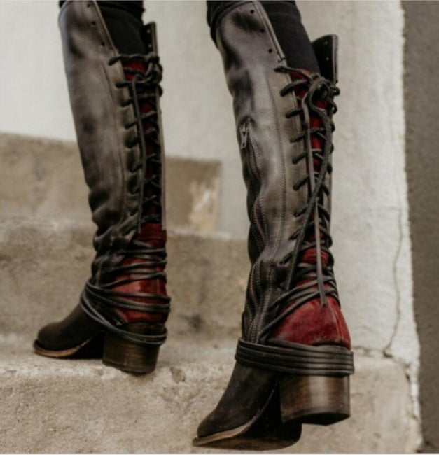 Knee High Vintage Cross-tied Gladiator Boots