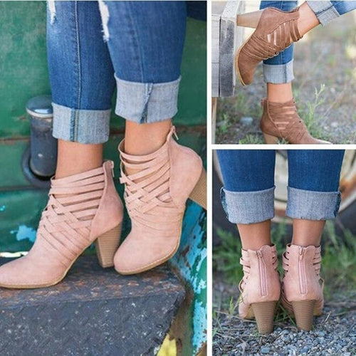 Cross Straps Thick Low Heels Boots