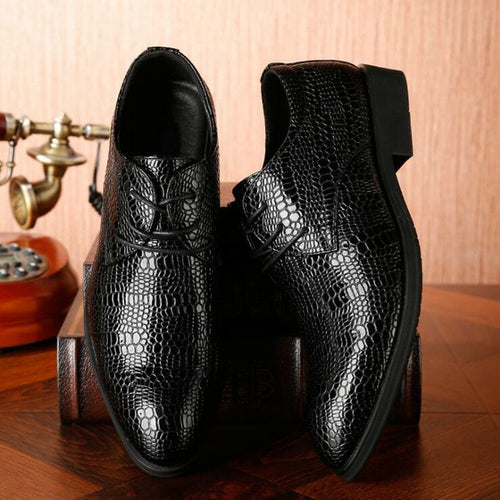 Men Business Formal Shoes Crocodile Pattern Leather