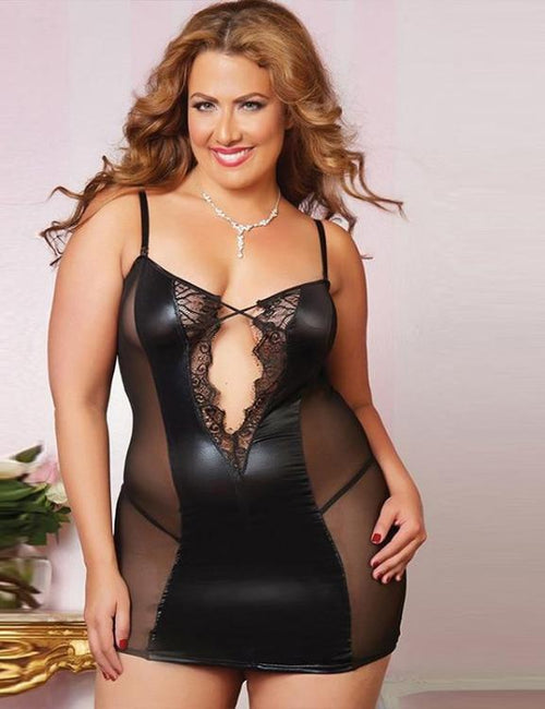 Plus Size Stitching Leather Lace Babydoll