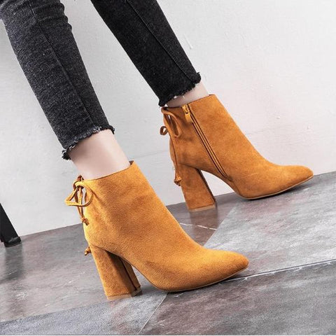 Autumn Women Suede Ankle Bootie High Heel Pointed Toe Bowknot
