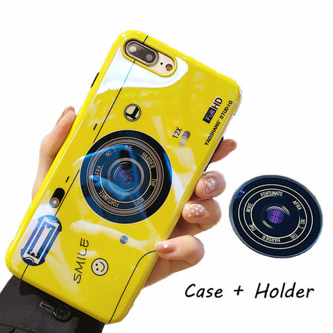 Silicone Cute Camera Stand Holder Cover For iPhone