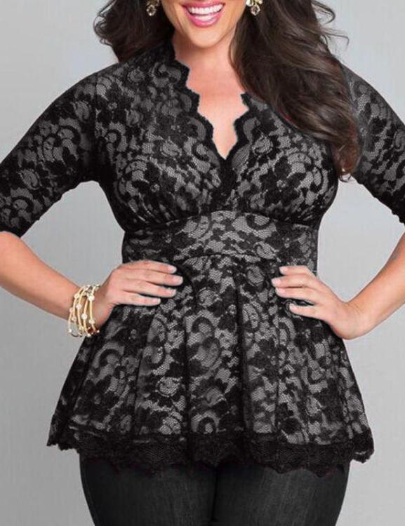 Plus Size Lace Flower Hollow V-Neck Three Quarter Blouse