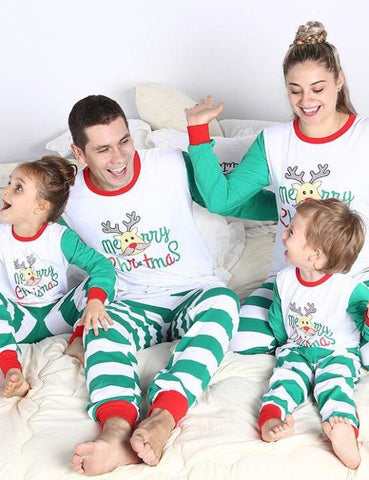 Christmas Family Nightwear Letters And Hats Pattern