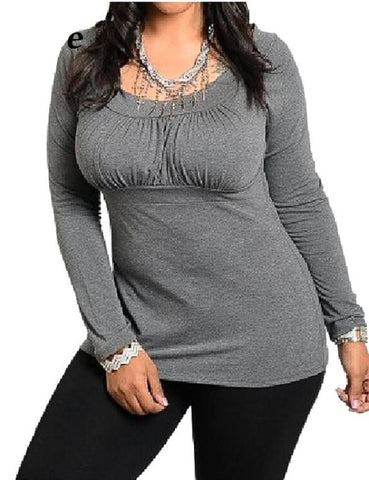 Plus Size Long Sleeve Cotton Basic T-shirt