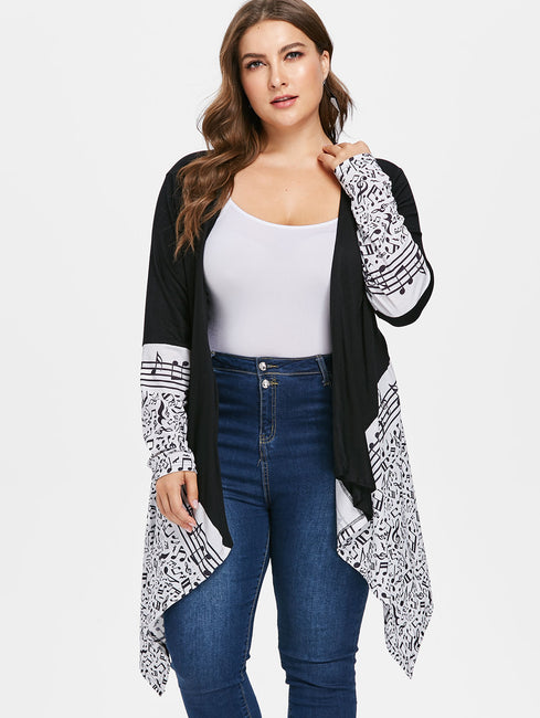 Plus Size Musical Notes Draped Loose Long Coat