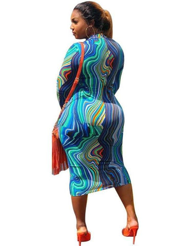 Sexy Midi Pencil Dress O Neck Long Sleeve Bodycon Striped Wave Printed