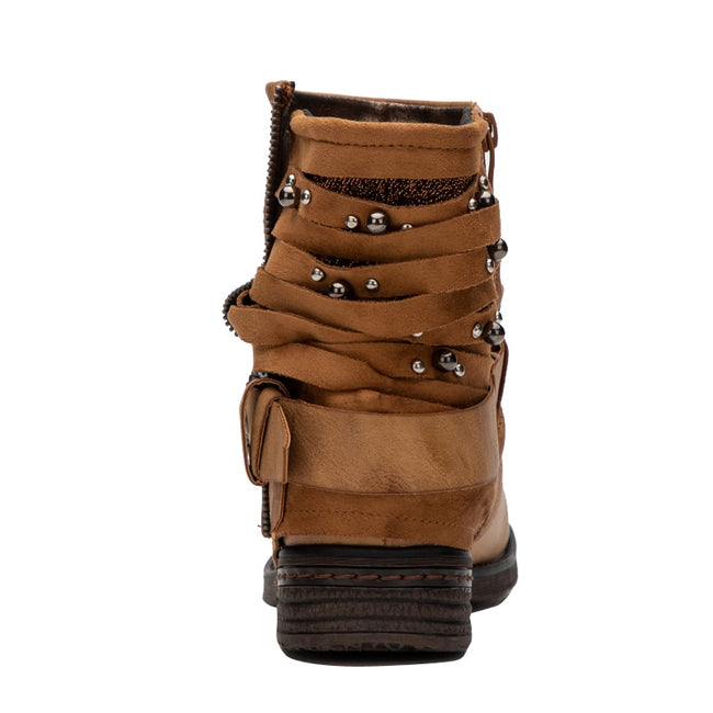 Rivet Velvet Round Toe Short Plush Zip Buckle Western Boots
