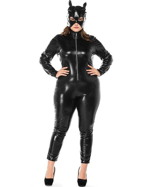 Catwoman Latex Black Faux Leather Bodysuit