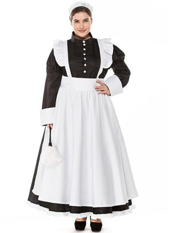 Plus Size Cafe Maid Dress English COS Suit +Head Ornaments+Aprons