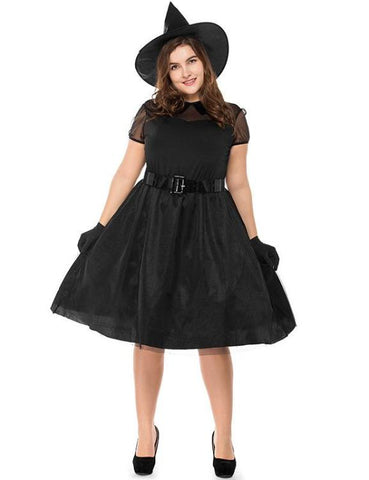 Plus Size Halloween Black Witch Dress