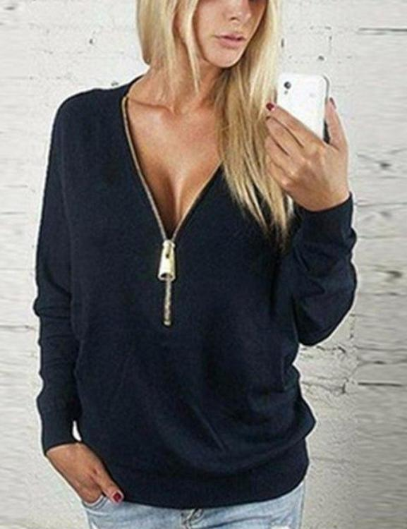Batwing Sleeve Deep V Collar Zipper Long Sleeve T-shirt