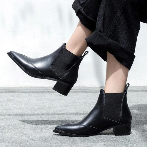 Classic Pure Color Women Leather Bootie Square Heel Pointed Toe