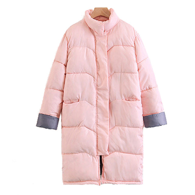 Plus Size Women Long Cotton Coat Standing Collar