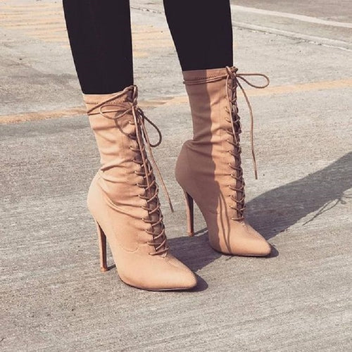 Stretch Fabric Women Ankle Boots Pointed Toe High Heels Lace-Up