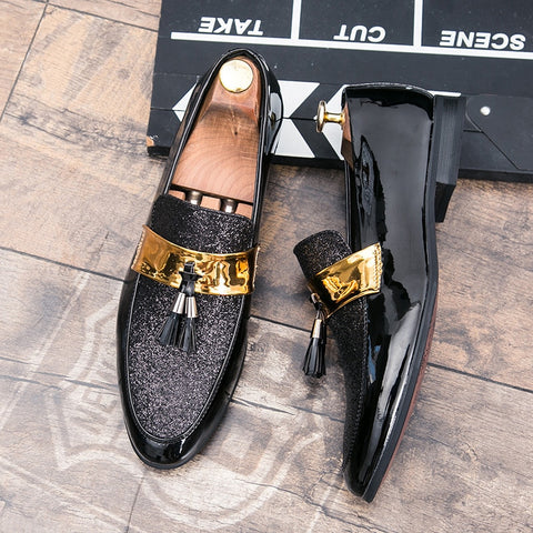 Flat Black Gold Floral Patchwork Tassel Dress Shoes