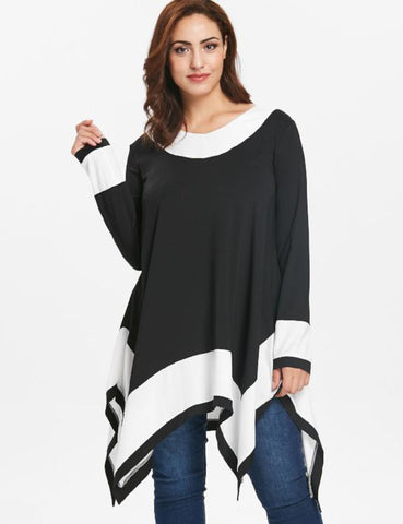 Plus Size Women T-Shirt Long Sleeves Asymmetric Hemline