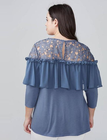 Chiffion Lace Patchwork Plus Size Blouse
