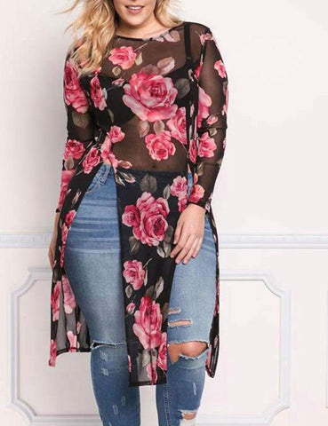 Embroidery Sheer Long Sleeve Plus Size T-Shirt