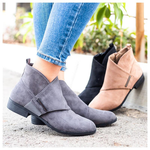Crossover Flap Side Zipper Suede Ankle Boots