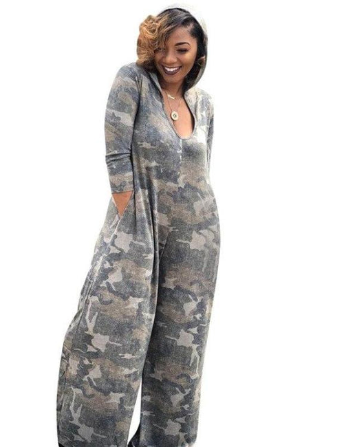 V-neck Full Sleeve Camouflage Long Loose Jumpsuit