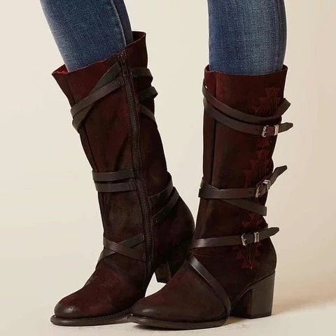 Fashion Vintage Knee High Buckle Straps Sewing Boots
