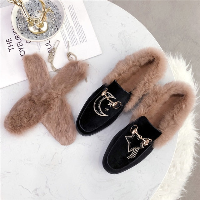 Furry Mules Fur Slippers Leopard Shoes Floral Prints Embroidery Star