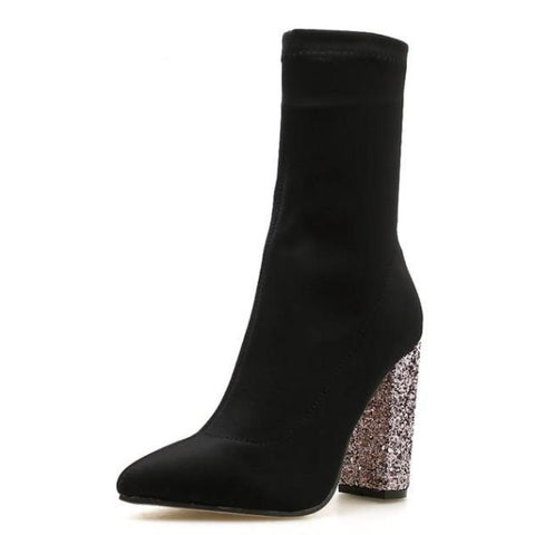 Glittering Women Boots Square High Heel Pointed Toe