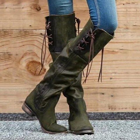 Knee High Chunky Low Heels Gladiator Boots