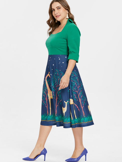 Square Neck A-Line Christmas Print Midi Dress