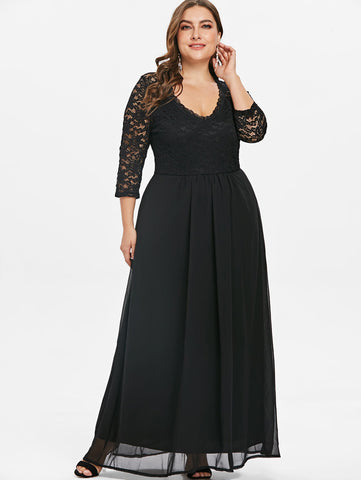 Plus Size Solid Lace Panel High Waist Dress