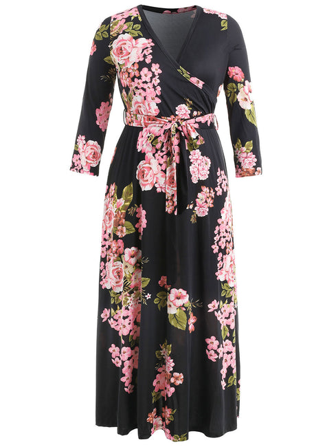 Plus Size Floral Print Long Sleeve Dress