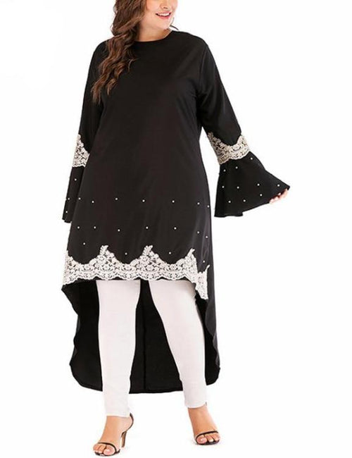 Long Sleeve Embroidery Loose Asymmetrical Dress
