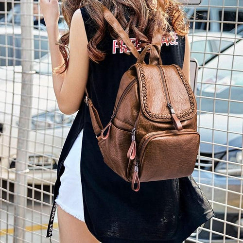 Simple Style Casual Large Capacity School Women Backpack